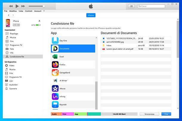 Condivisione file iTunes