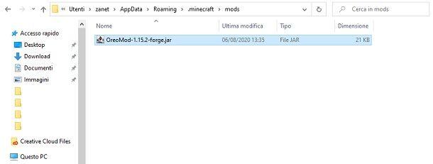 Cartella delle mod Minecraft Forge