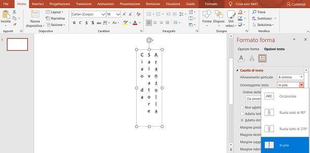 Testo verticale PowerPoint