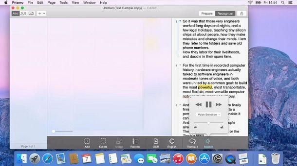 Usare il programma Prizmo su Mac per copiare testo da una foto
