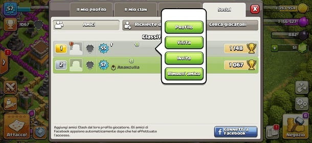 Invitare amici clan Clash of Clans