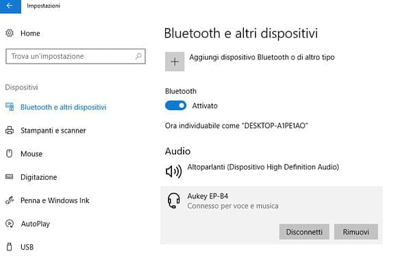 Connettere cuffie Bluetooth Windows