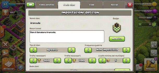 Impostazioni clan Clash of Clans