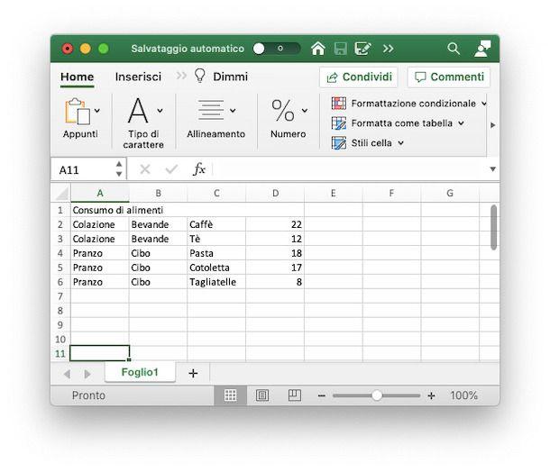 File Excel grafico ad albero