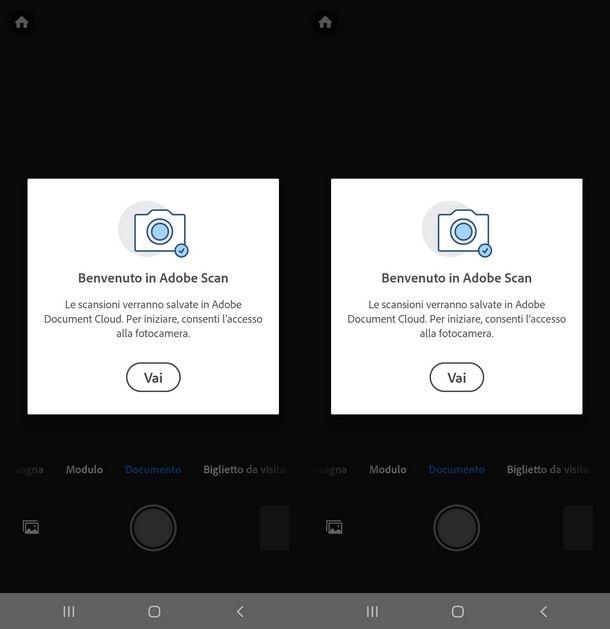 Dare il consenso ad Adobe Scan