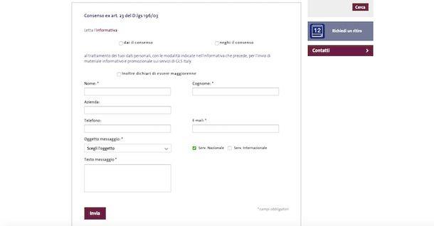 Modulo email GLS online