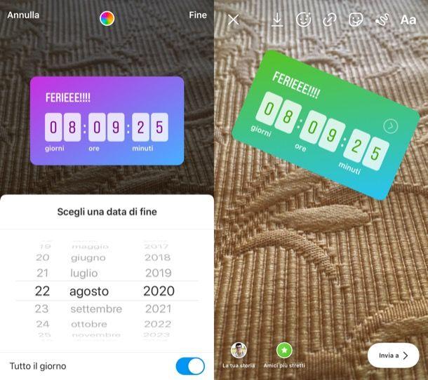 Adesivo Countdown di Instagram su iOS