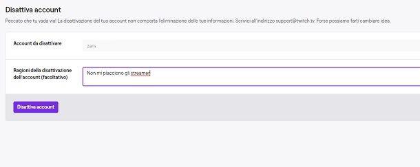 Come disattivare account Twitch da PC