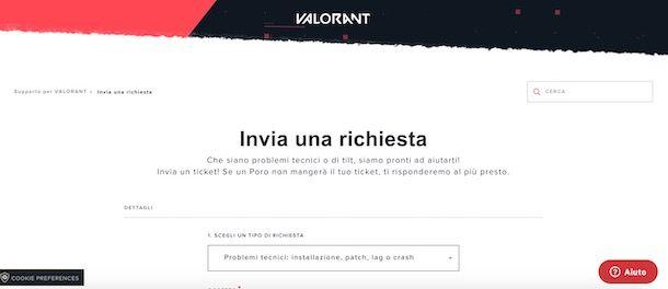 Supporto per installare Valorant