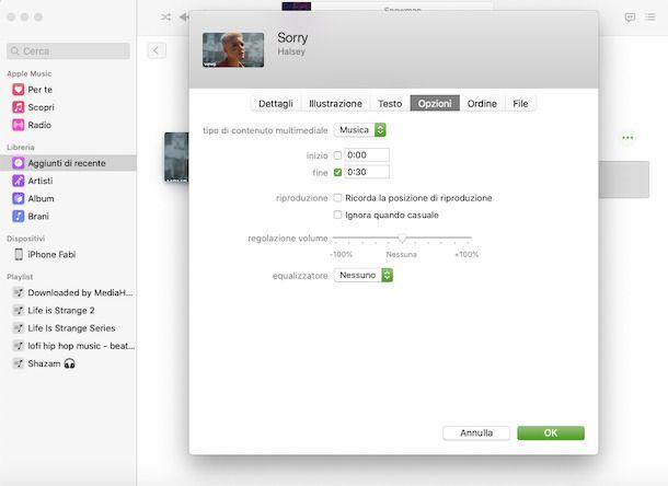 Creare suoneria iPhone iTunes/Musica
