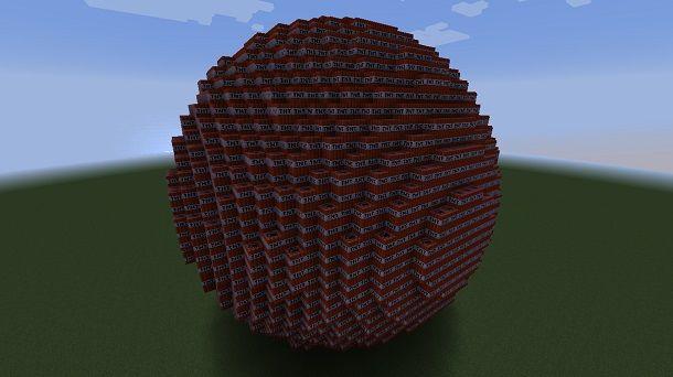 Sfera di TNT su Minecraft