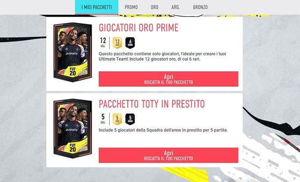 Pacchetti FIFA Ultimate Team Web App