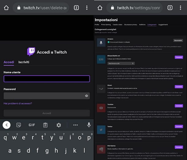 Come eliminare account Twitch Prime da cellulare