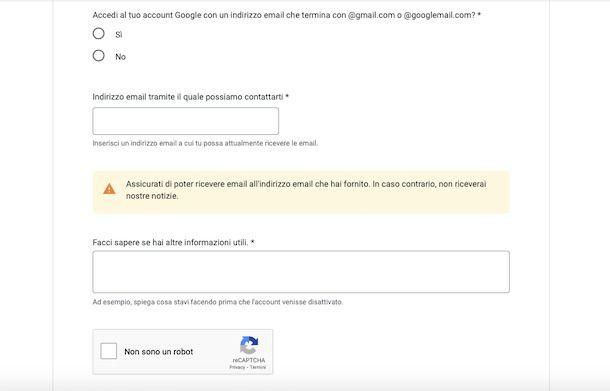 Ripristino account Google disattivato