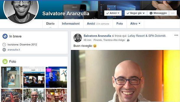 Facebook posizione amico