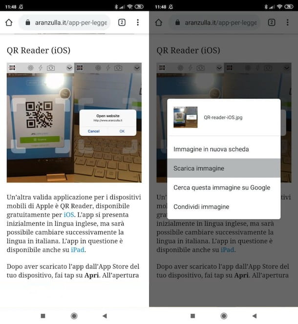 Salvare QR code su Android