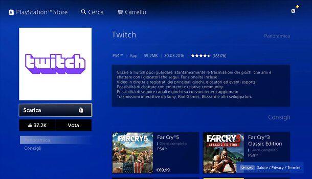 Installazione app Twitch PS4