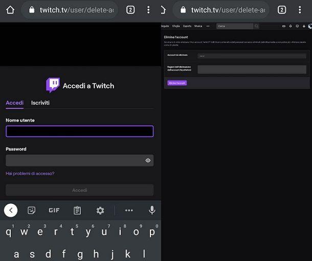Come disattivare account Twitch dal cellulare
