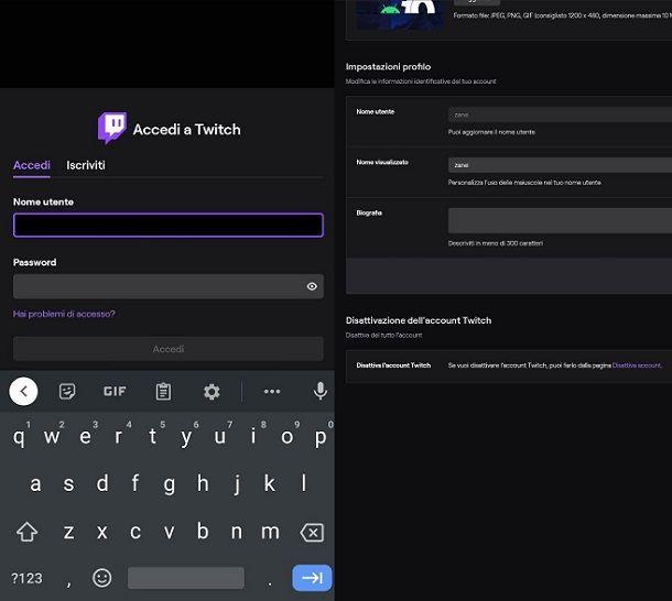 Come disattivare account Twitch da smartphone