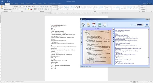 Importare il testo da Free OCR in Word
