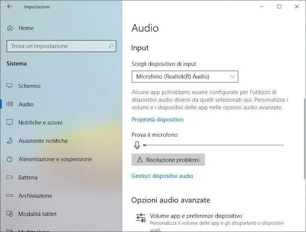 Riattivare microfono Windows