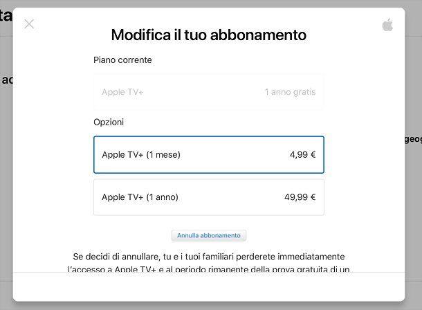 Come disdire Apple TV da browser