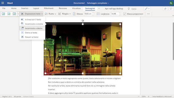 Mettere immagine Word Online senza spostare testo