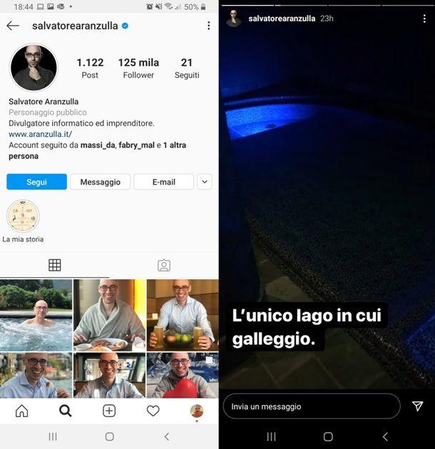 Profilo Instagram con le storie di Aranzulla