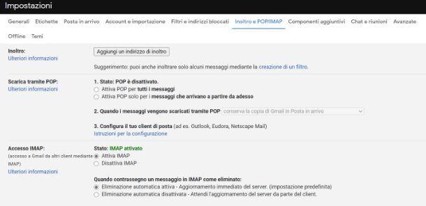 Configurare Gmail per client di posta