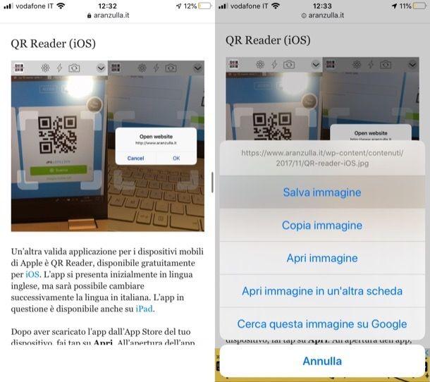 Salvare QR code su iOS