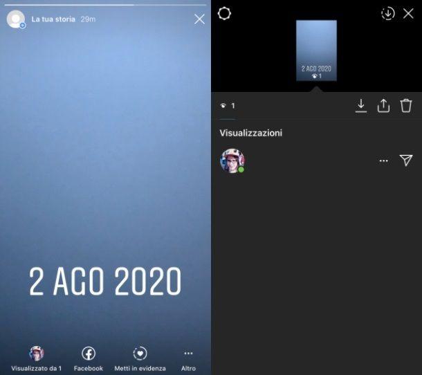 Storie instagram visualizzazione