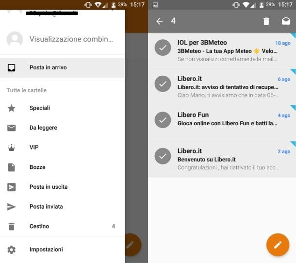 Svuotare Cestino mail app sistema