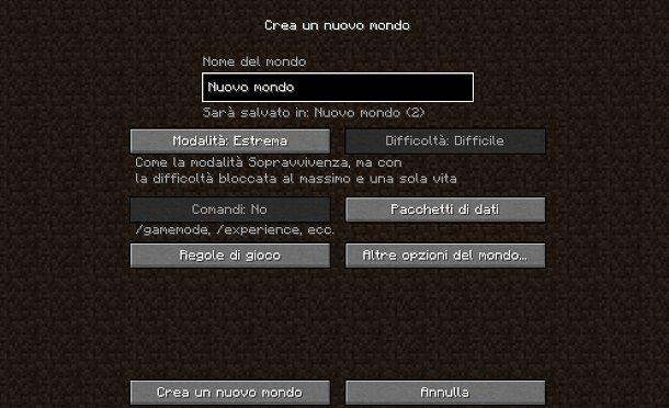 Modalità Estrema Minecraft