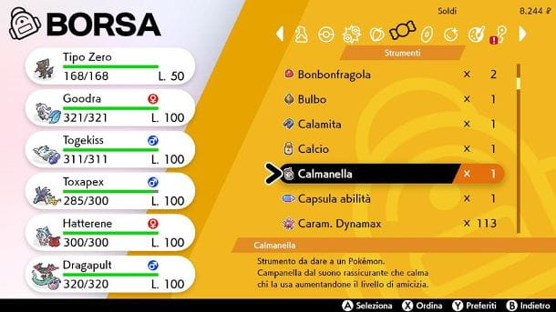 L'oggetto Calmanella in Pokémon Spada e Scudo