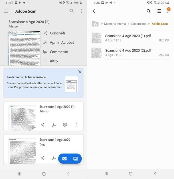 Scegliere i file di immagine per copiare il testo da una foto con Adobe Scan