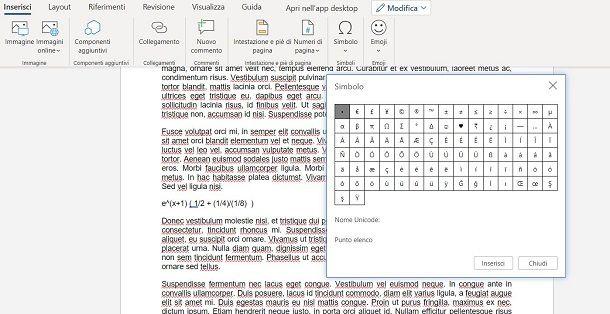Scrivere formule matematiche su Word Online