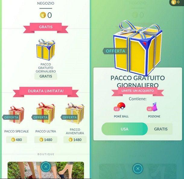 Pacchi giornalieri gratuiti Pokemon GO
