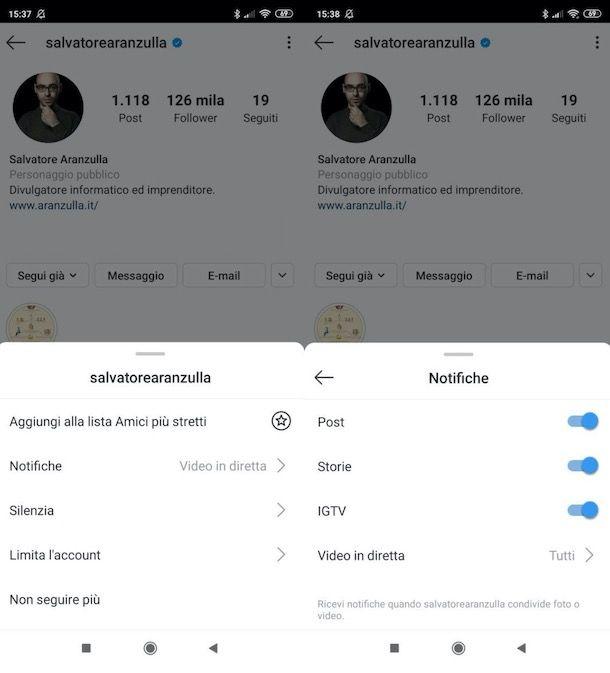Attivare notifiche account Instagram