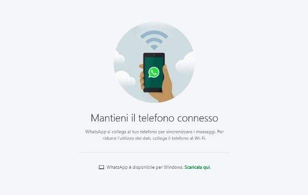 Schermata iniziale di WhatsApp Web