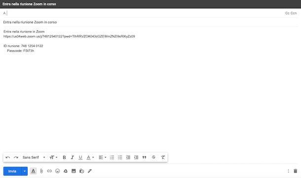 Creare link invito Zoom