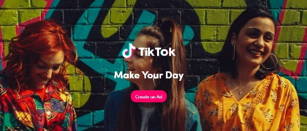 Home page di TikTok for Business