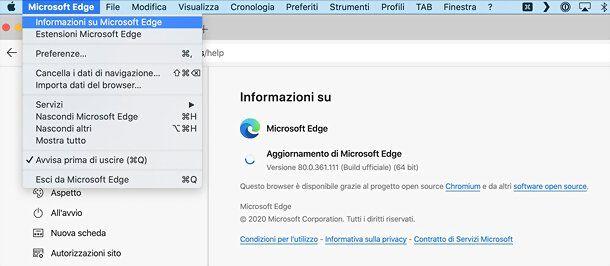 Come aggiornare Microsoft Edge su macOS