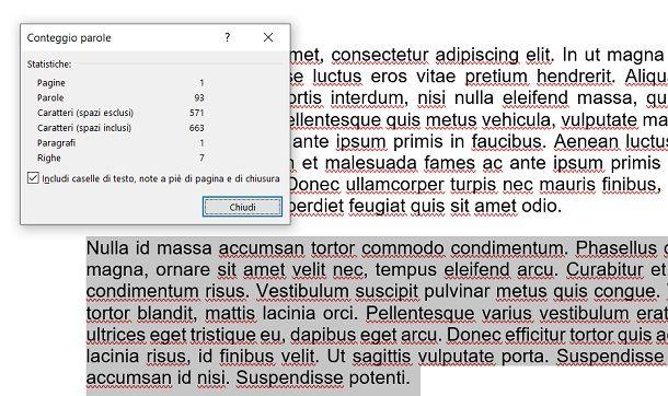 Conteggio porzione testo su Word