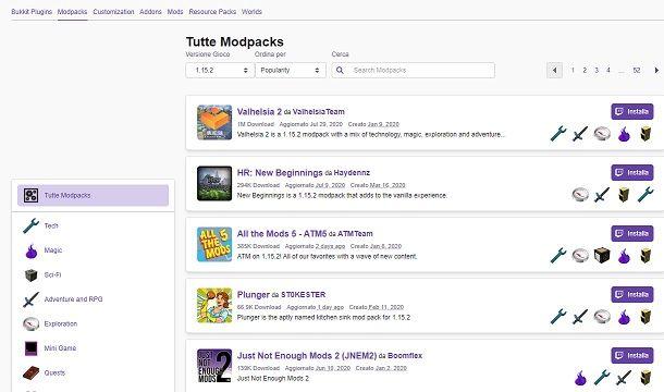 Mod compatibili versione Minecraft