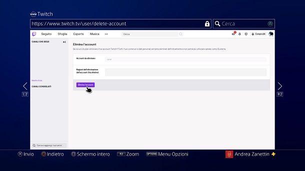 Come eliminare account Twitch da console