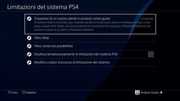 Limitazioni di sistema PS4