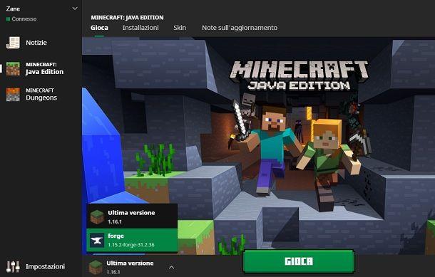 Selezionare profilo Forge Minecraft
