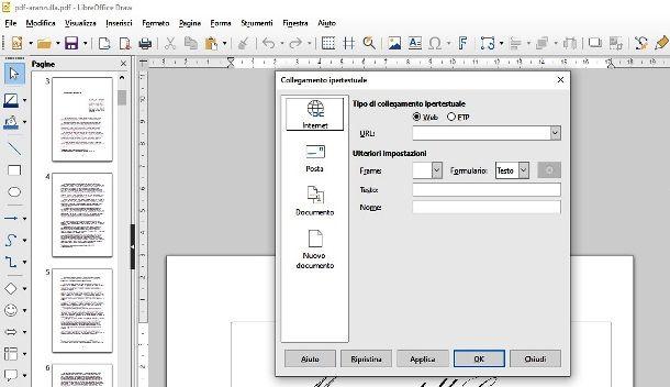 Inserire URL in LibreOffice