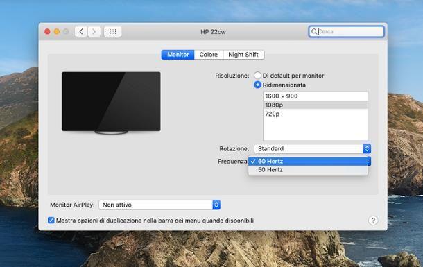 Come vedere gli Hz del monitor su Mac