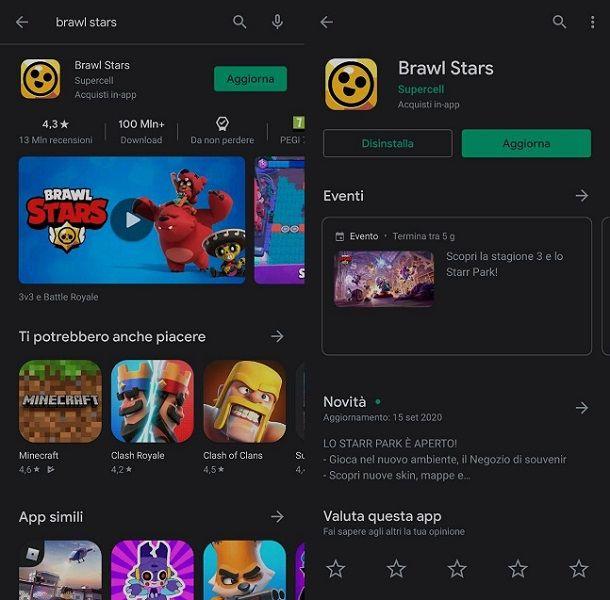 Come aggiornare Brawl Stars dal Play Store